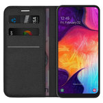 Leather Wallet Case & Card Holder Pouch for Samsung Galaxy A50 - Black